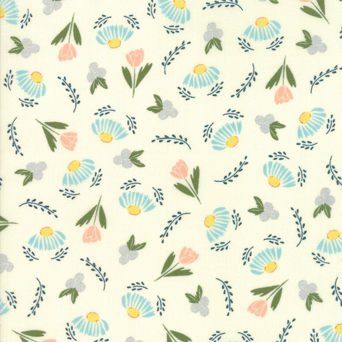 Ivory Flower Daze Fabric from Clover Hollow Collection at Cherry Creek Fabric