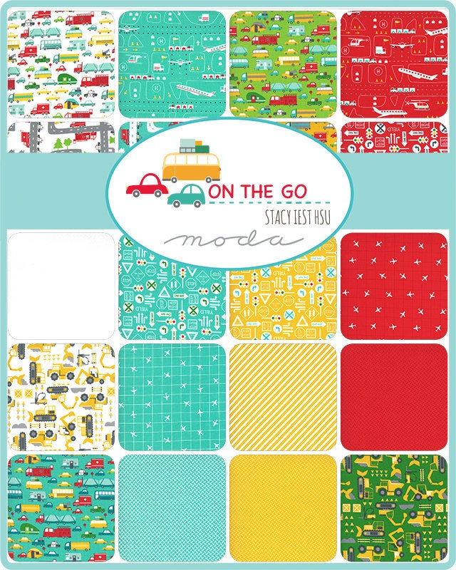 On the Go Red & Aqua Fat Quarter - 8 pieces
