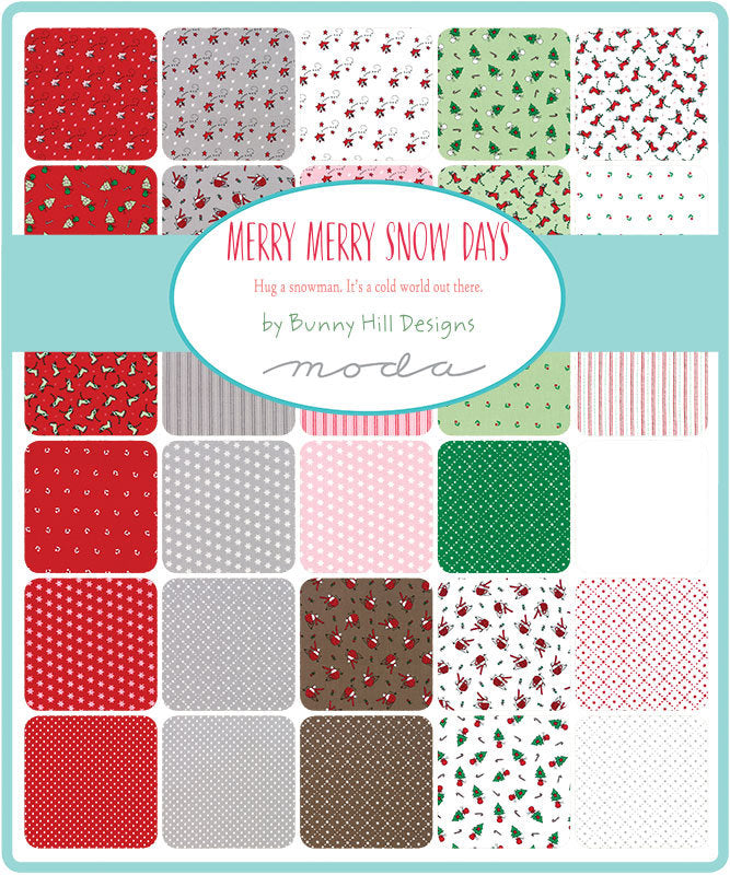 Merry Merry Sno Days Charm Pack - Bunny Hill Designs - Moda Fabric - Fabric Bundle - Moda Charm Pack - 42 pieces from Cherry Creek Fabric & Crafts Collection at Cherry Creek Fabric