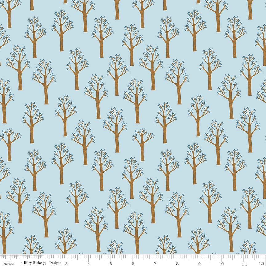 Blue Trees Fabric