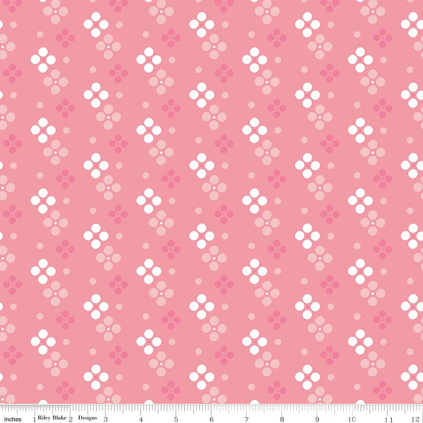 Pink Meadow Spot Fabric from In the Meadow Collection at Cherry Creek Fabric