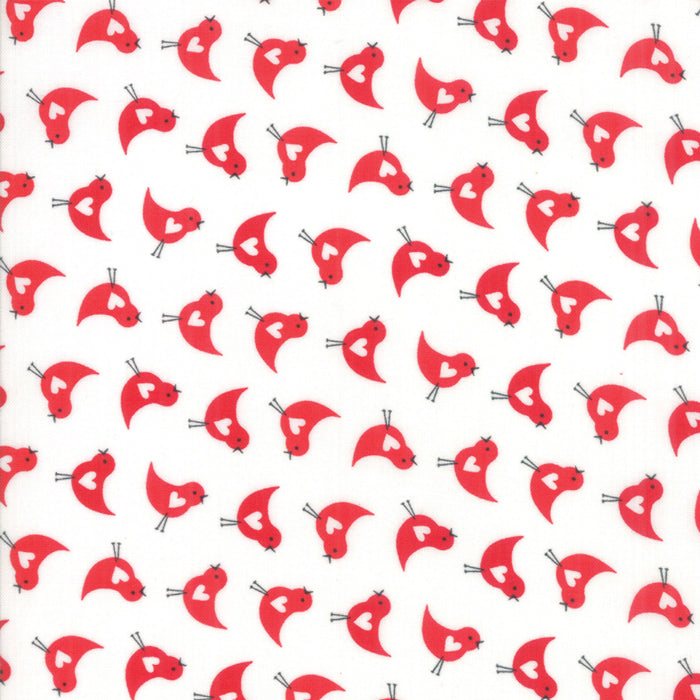 "White Love Bird Fabric END OF BOLT 1 yd + 16"" from REDiculously Red Collection at Cherry Creek Fabric"