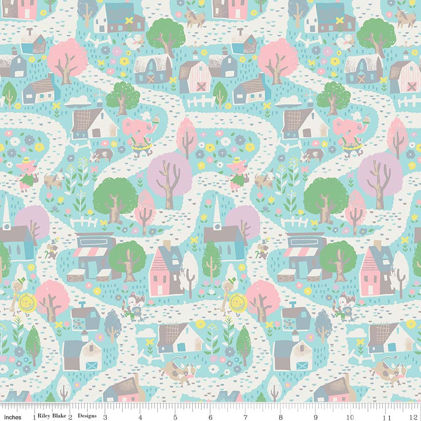 Village Aqua Fabric from Once Upon A Rhyme Collection at Cherry Creek Fabric