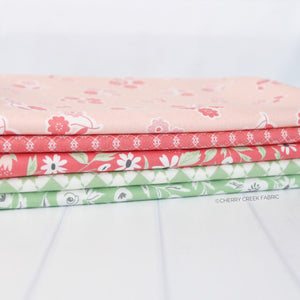 Garden Variety Pink & Green One Yard Bundle Fabric - 5 pieces