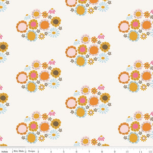 Cream Flower Fabric from Guinevere Collection at Cherry Creek Fabric
