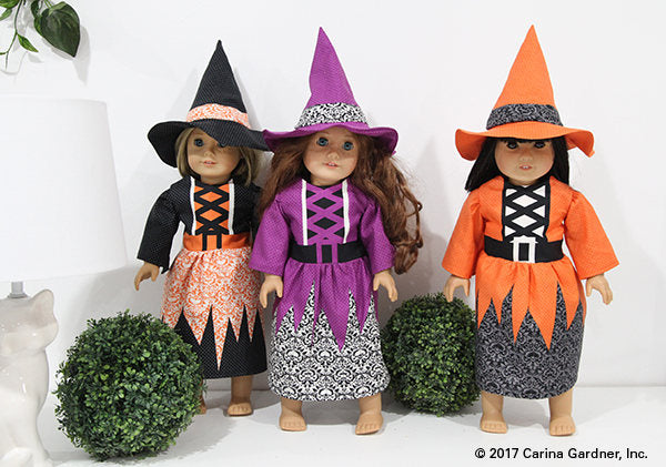 Purple Witch Doll Halloween Panel from Eek Boo Shriek Collection at Cherry Creek Fabric