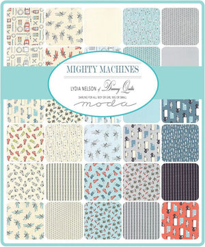 "END OF BOLT 1 yd + 27"" - Aqua Trucks Toss Fabric from Mighty Machines Collection at Cherry Creek Fabric"