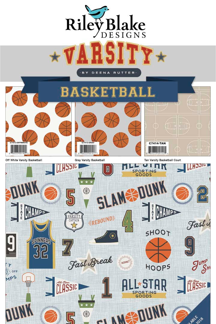 Varsity Basketball Charm Pack from Varsity Collection at Cherry Creek Fabric
