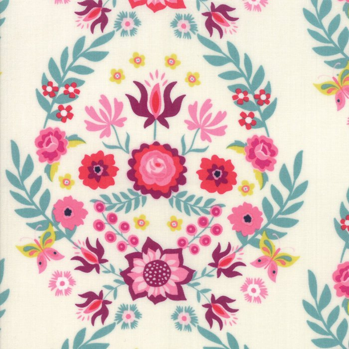 "END OF BOLT 28"" - White Floral Fabric from Rosa Collection at Cherry Creek Fabric"