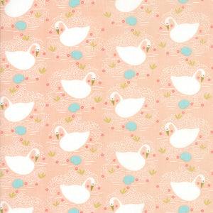 Peach Swan Fabric from Enchanted Collection at Cherry Creek Fabric