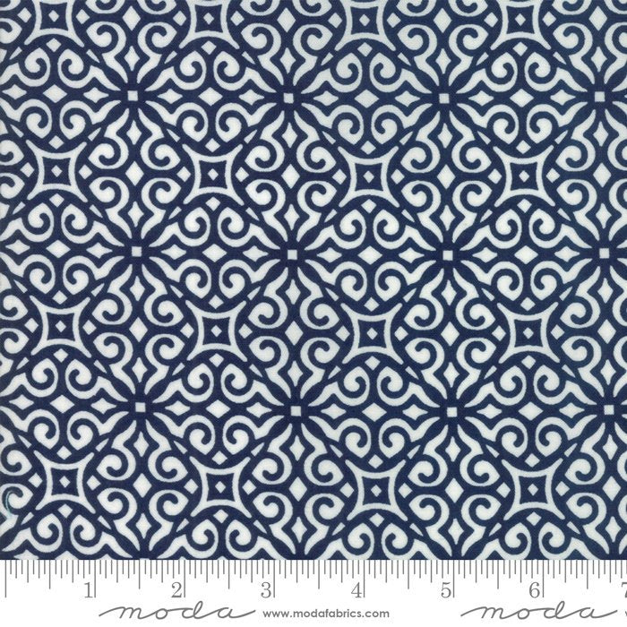Navy Geometric Fabric from All Weather Friend Collection at Cherry Creek Fabric