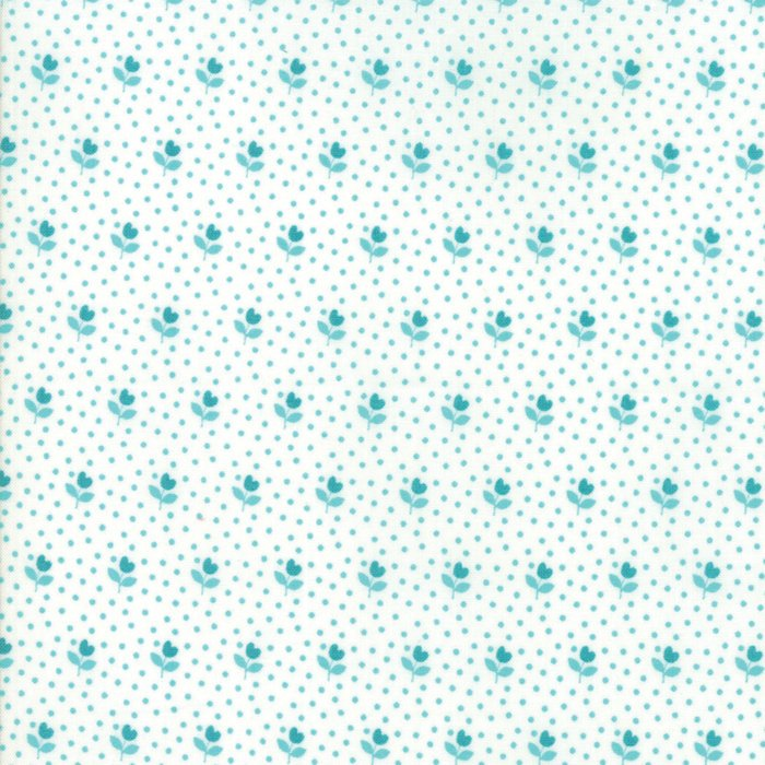 Turquoise on White Flower Bud Fabric