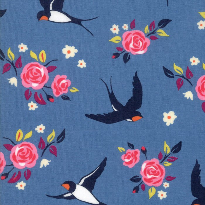 Blue Floral Bird Fabric