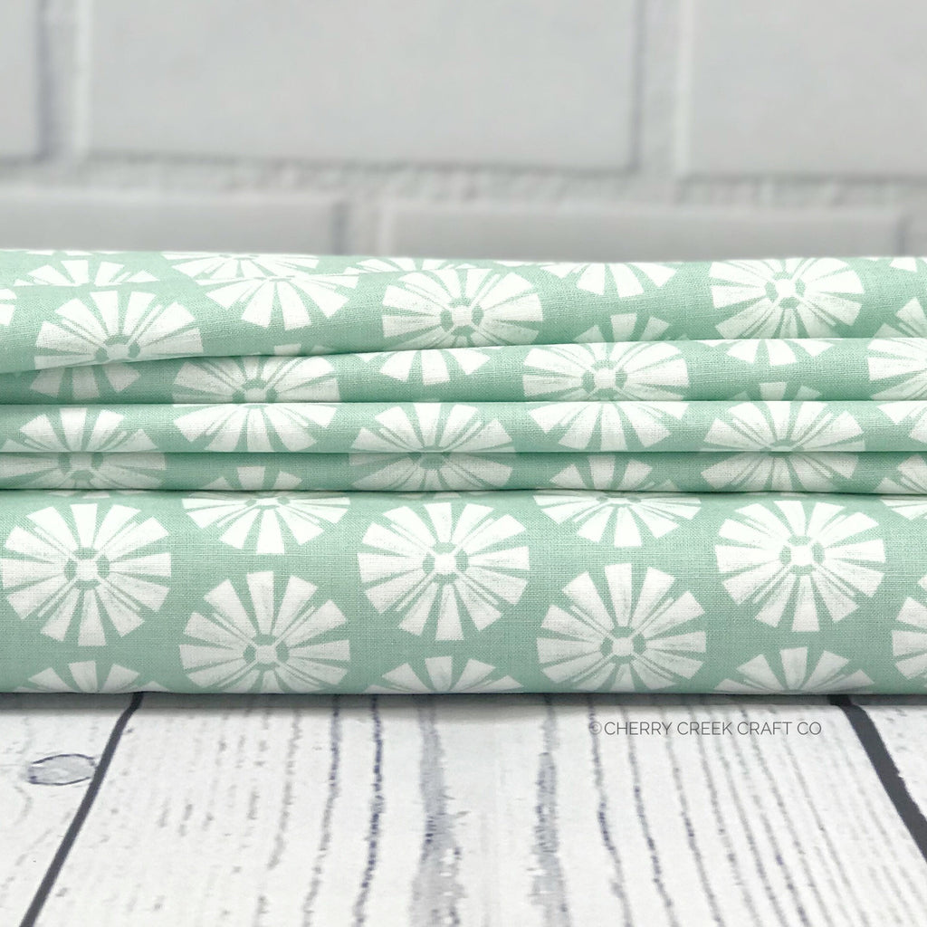 "Mint Windmill FabricEND OF BOLT 1 yds + 22"" from Grandale Collection at Cherry Creek Fabric"