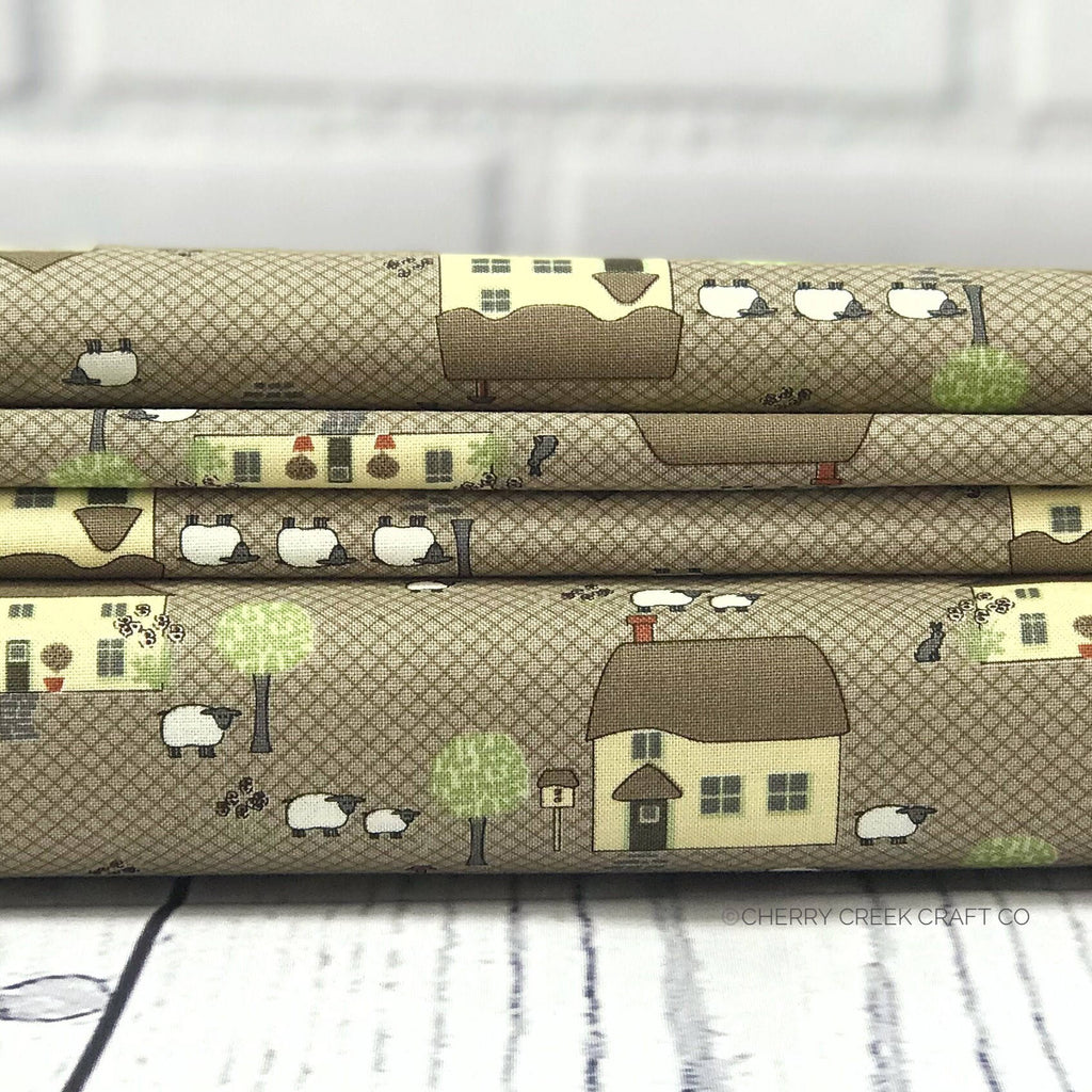 Brown Houses Fabric from Cottontail Cottage Collection at Cherry Creek Fabric