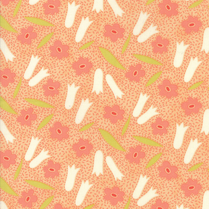 Peach Floral Buttercup Fabric