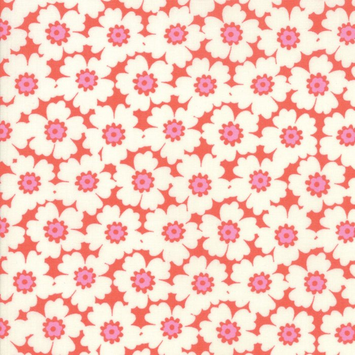 Orange Floral Cosmos Fabric