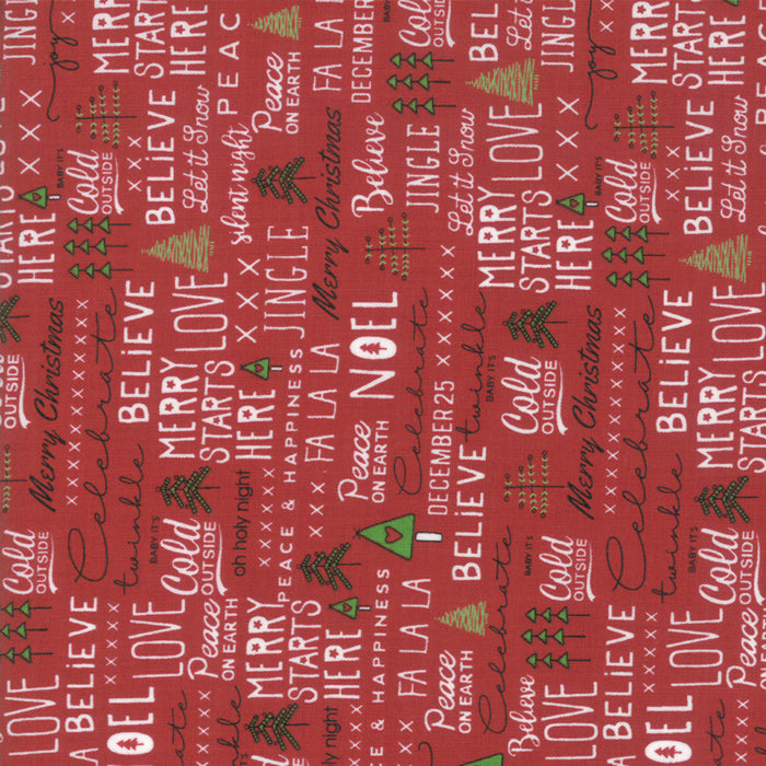 Merry Starts Here by Sweetwater | Red Christmas Text Fabric
