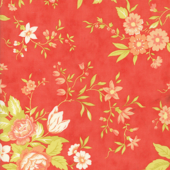 Red Floral Meadow Fabric