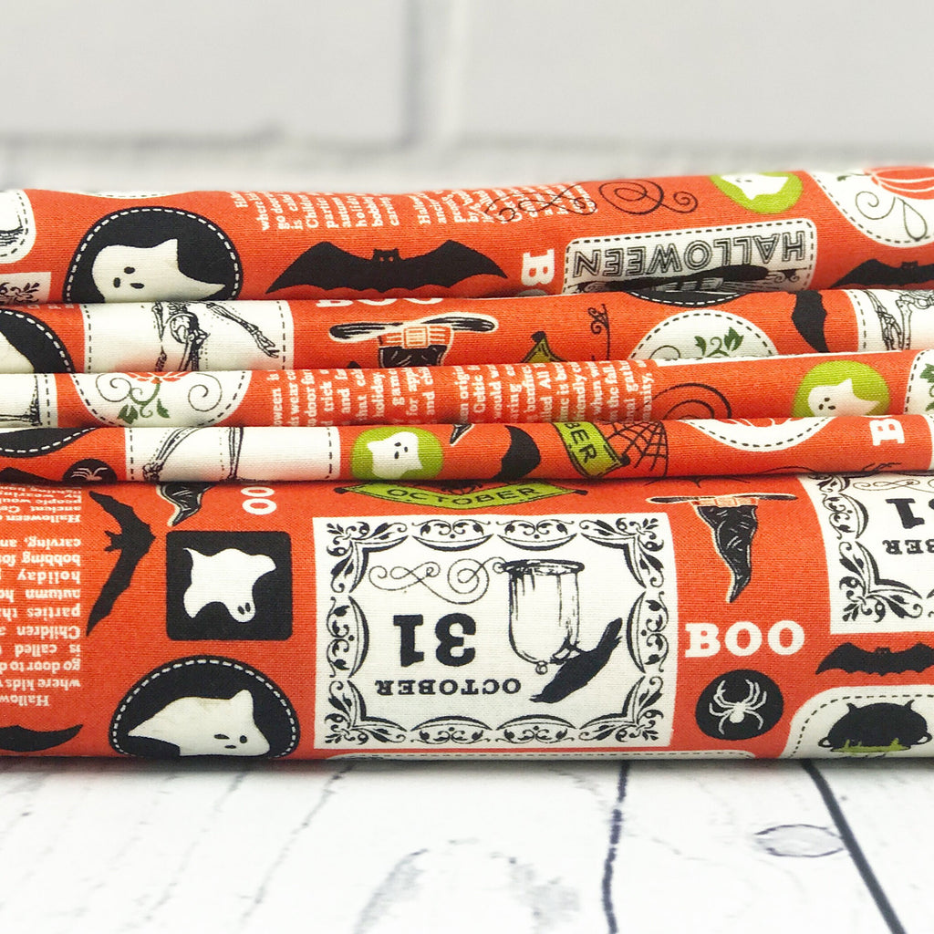 Orange Halloween Fabric