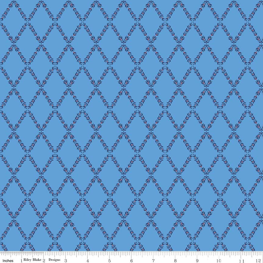 Blue Lattice Fabric from Harry & Alice Collection at Cherry Creek Fabric