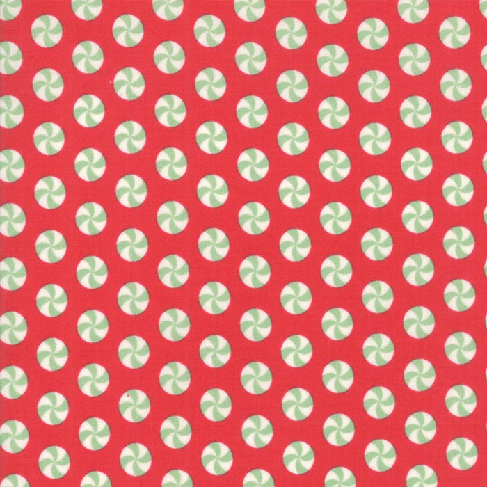 Sweet Christmas by Urban Chiks | Red Peppermint Polka Dot Fabric from Sweet Christmas Collection at Cherry Creek Fabric