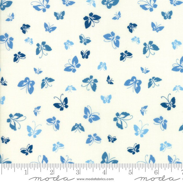Creamy Blue Butterflies Fabric from Lazy Days Collection at Cherry Creek Fabric