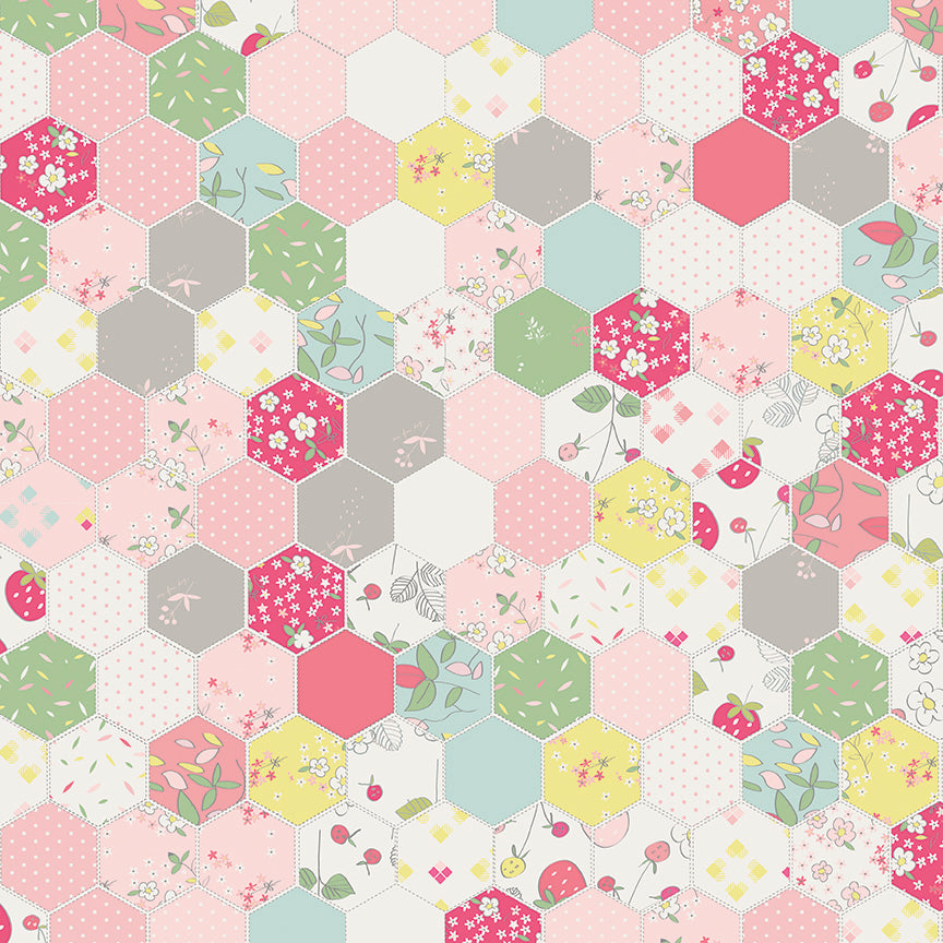 Pink Hexagon Fabric