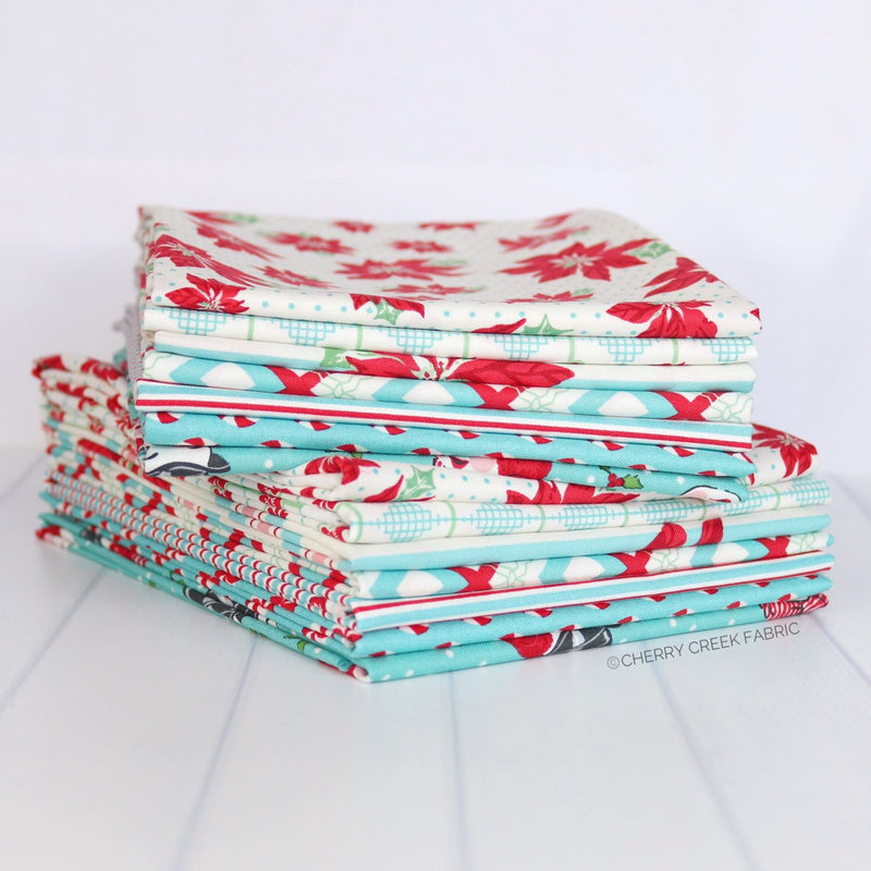 Sweet Christmas Aqua Half Yard Bundle - 7 pieces