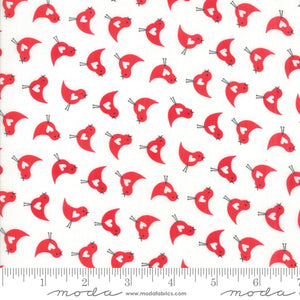White Love Bird Fabric </br>END OF BOLT </br>1 yd + 16""