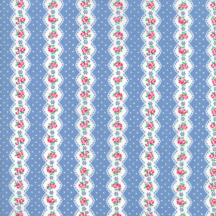 Blue Floral Stripe Fabric from Guest Room Collection at Cherry Creek Fabric