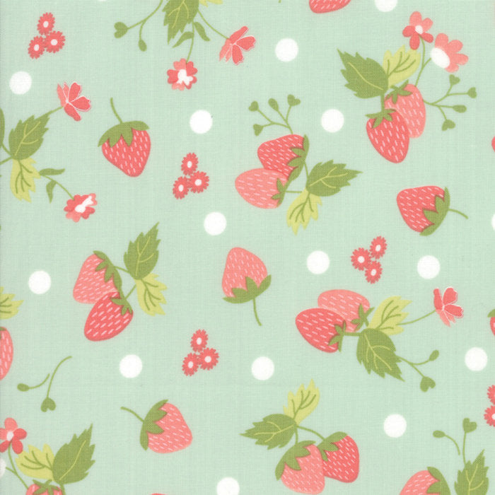 Strawberry Jam Fabric - Aqua Strawberry Fabric - Corey Yoder - Moda Fabric - Strawberries Fabric - Aqua Fabric - Fabric by the Yard from Cherry Creek Fabric & Crafts Collection at Cherry Creek Fabric