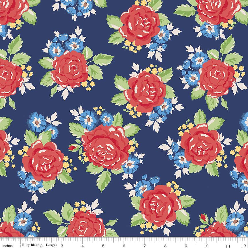 Navy Rose Fabric from Harry & Alice Collection at Cherry Creek Fabric