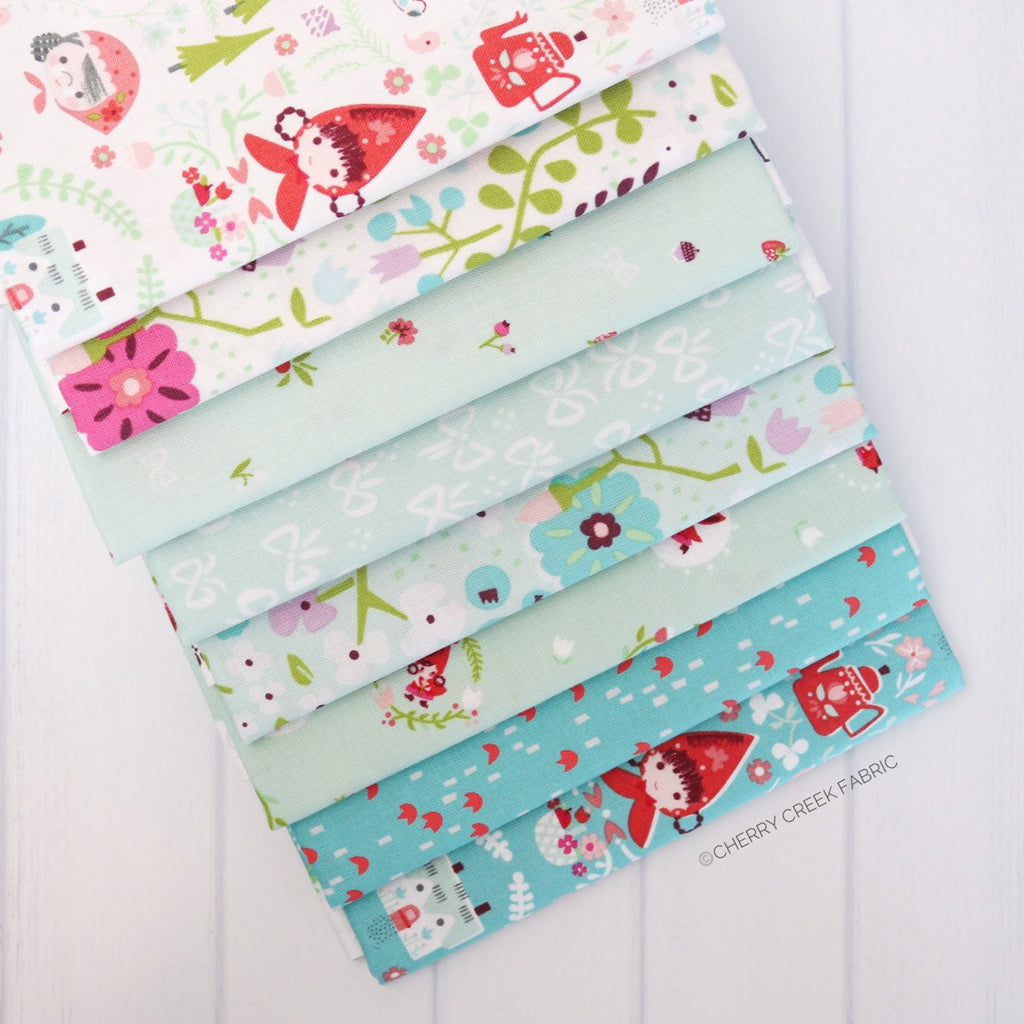 Little Red in the Woods Aqua Half Yard Bundle - 8 pieces from Little Red in the Woods Collection at Cherry Creek Fabric