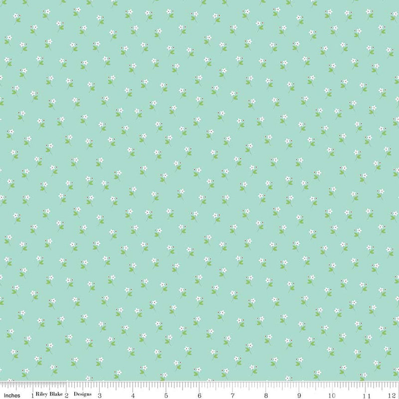 Aqua Daisy Fabric from Vintage Keepsakes Collection at Cherry Creek Fabric