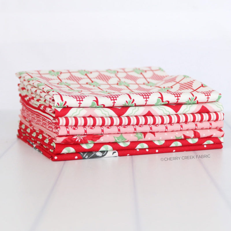 Sweet Christmas Red Fat Quarter Bundle - 7 pieces