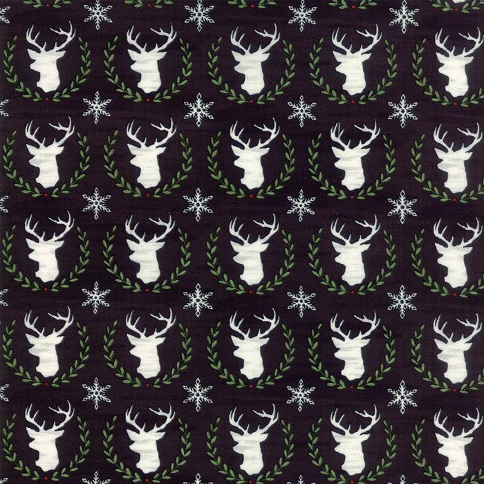 Black Laurel Deer Fabric from Hearthside Holiday Collection at Cherry Creek Fabric