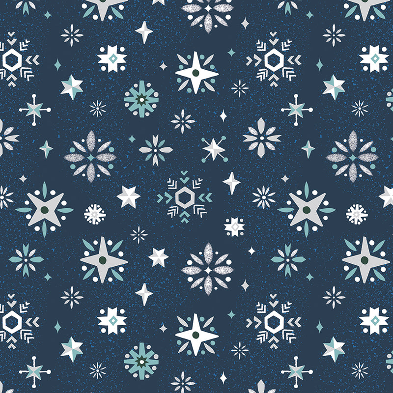 "Navy Snowflake FabricEND OF BOLT 2 yds + 12"" from Way Up North Collection at Cherry Creek Fabric"