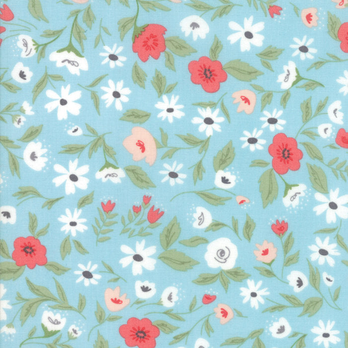 Light Blue Garden Bed Fabric from Garden Variety Collection at Cherry Creek Fabric