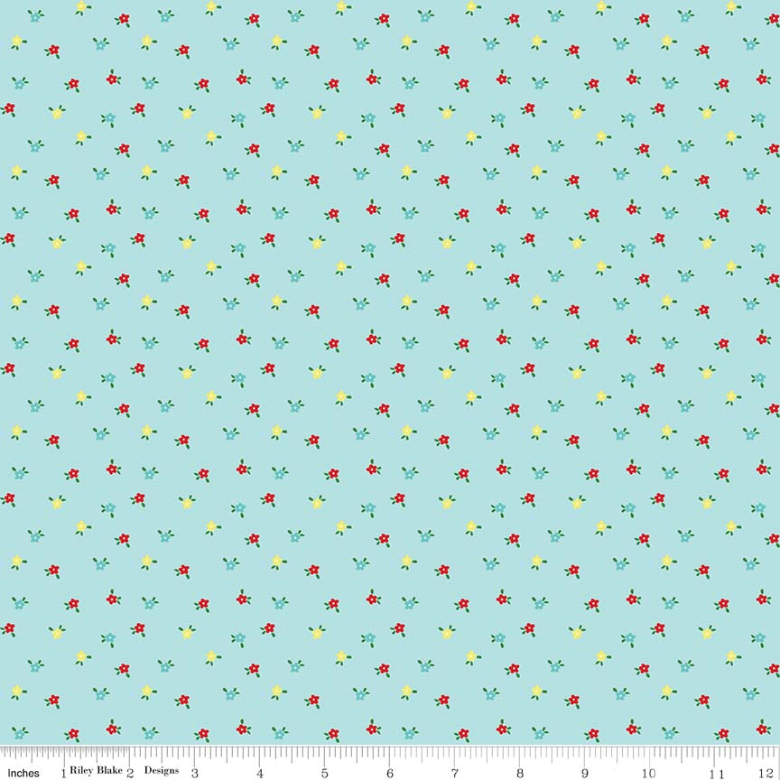 Aqua Mini Flowers Fabric