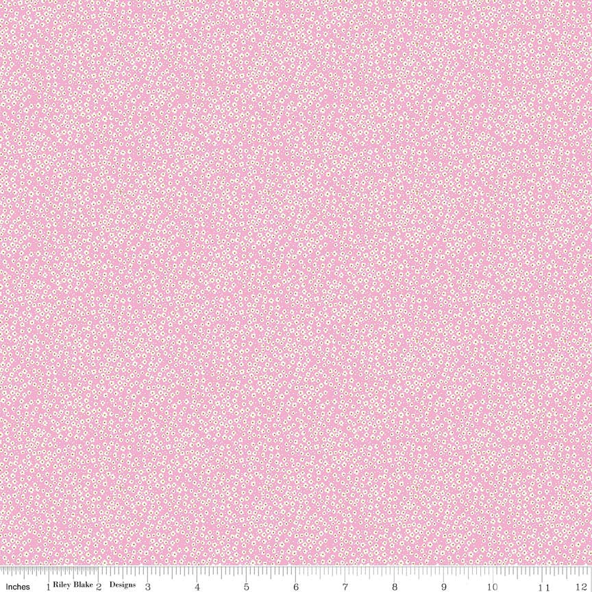 Pink Bitty Flowers Fabric