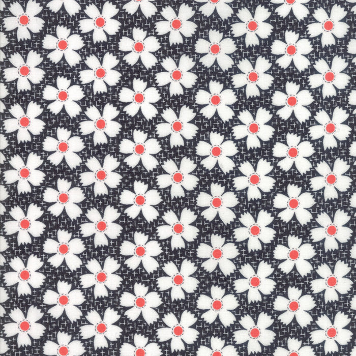 Black Gingham Daisies Fabric