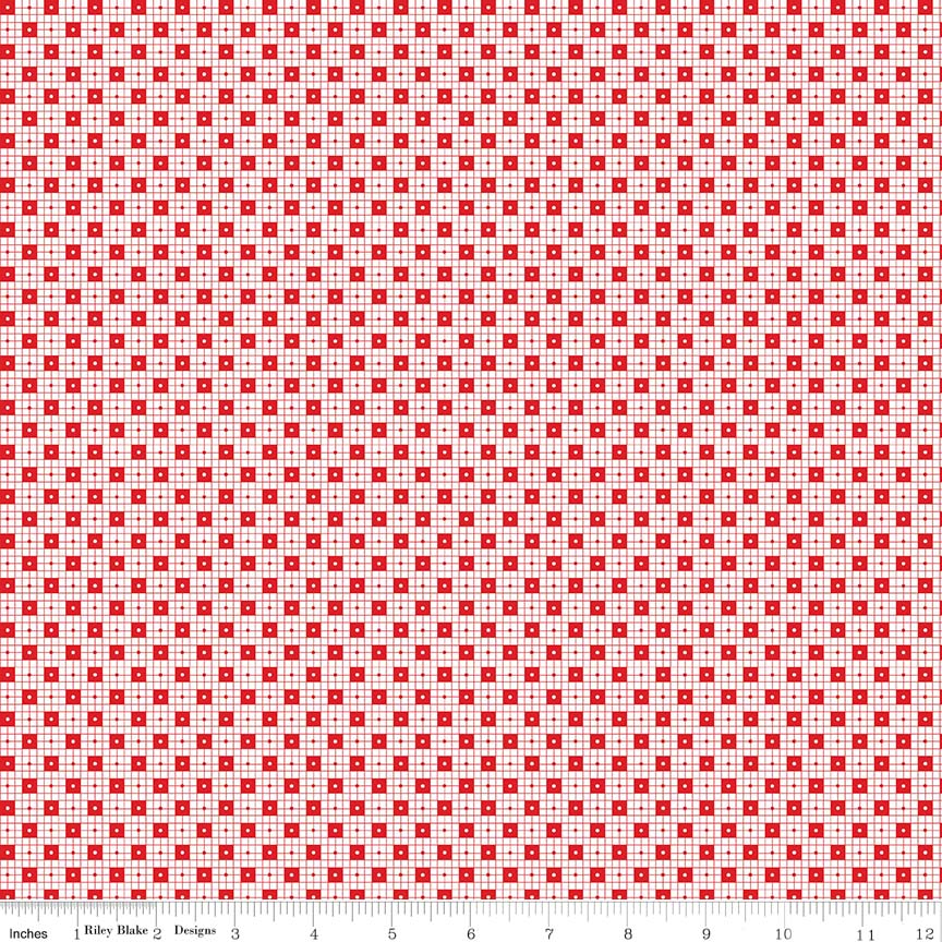 Red Checker Dots Fabric