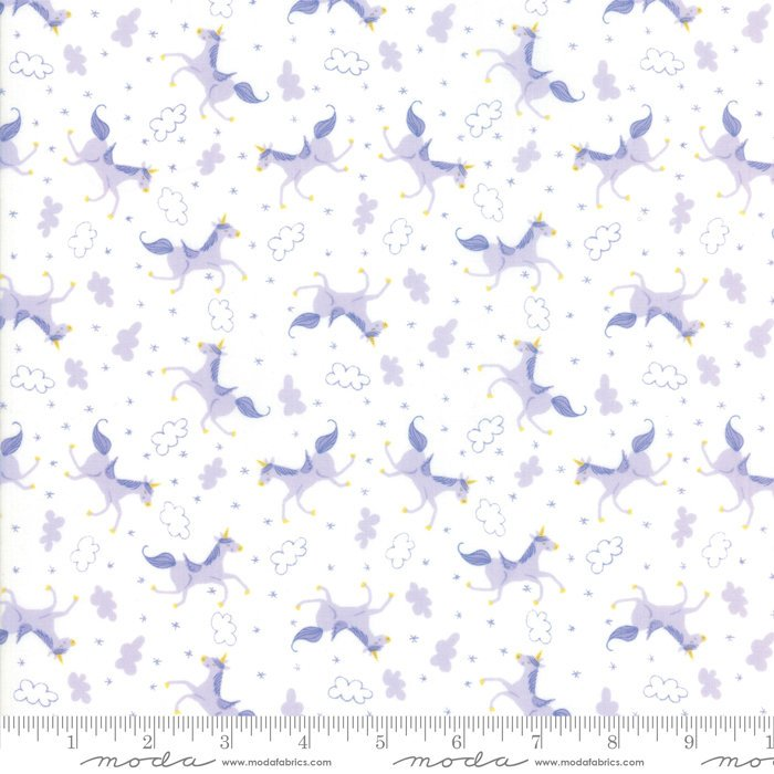 White Lavendar Unicorn Fabric from Once Upon a Time Collection at Cherry Creek Fabric