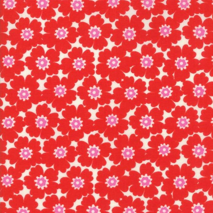 Red Floral Cosmos Fabric