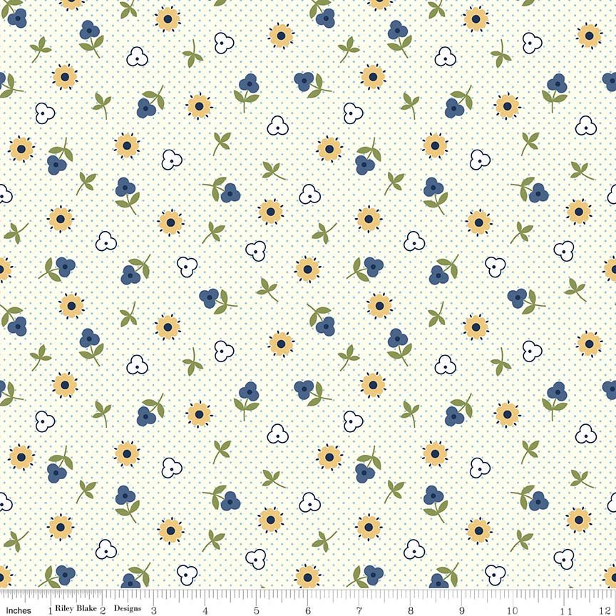 Blue Flower Toss Fabric