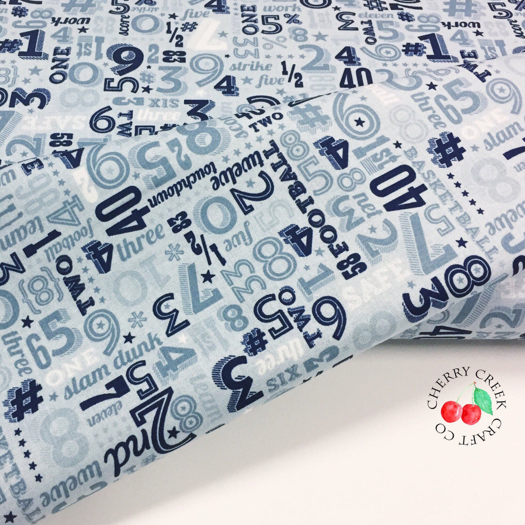 Game Day Fabric - Aqua Sports Numbers Fabric - Lori Whitlock from Game Day Collection at Cherry Creek Fabric