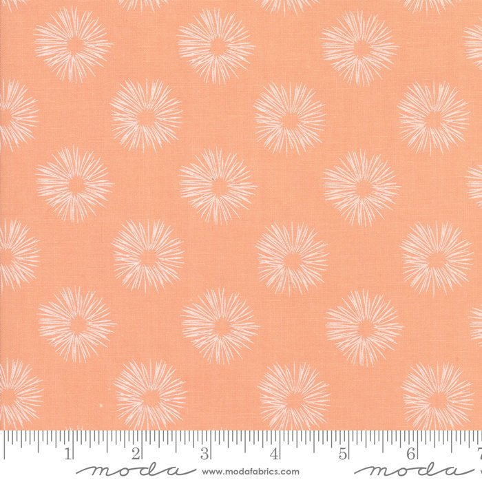 "END OF BOLT 2 yd + 15"" Peach Dandelion Fabric from Woodland Secrets Collection at Cherry Creek Fabric"