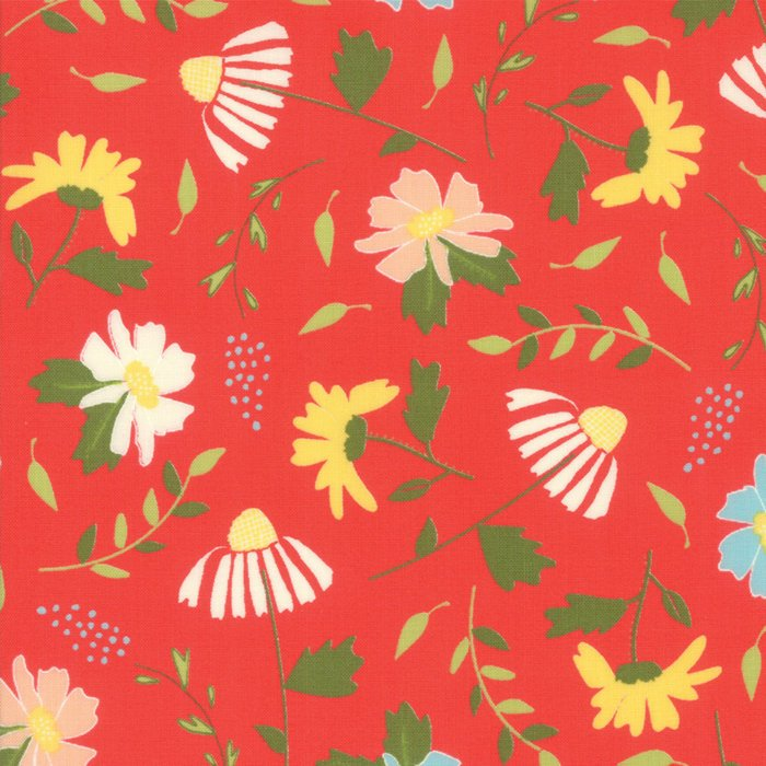 Red Meadow Blooms Fabric