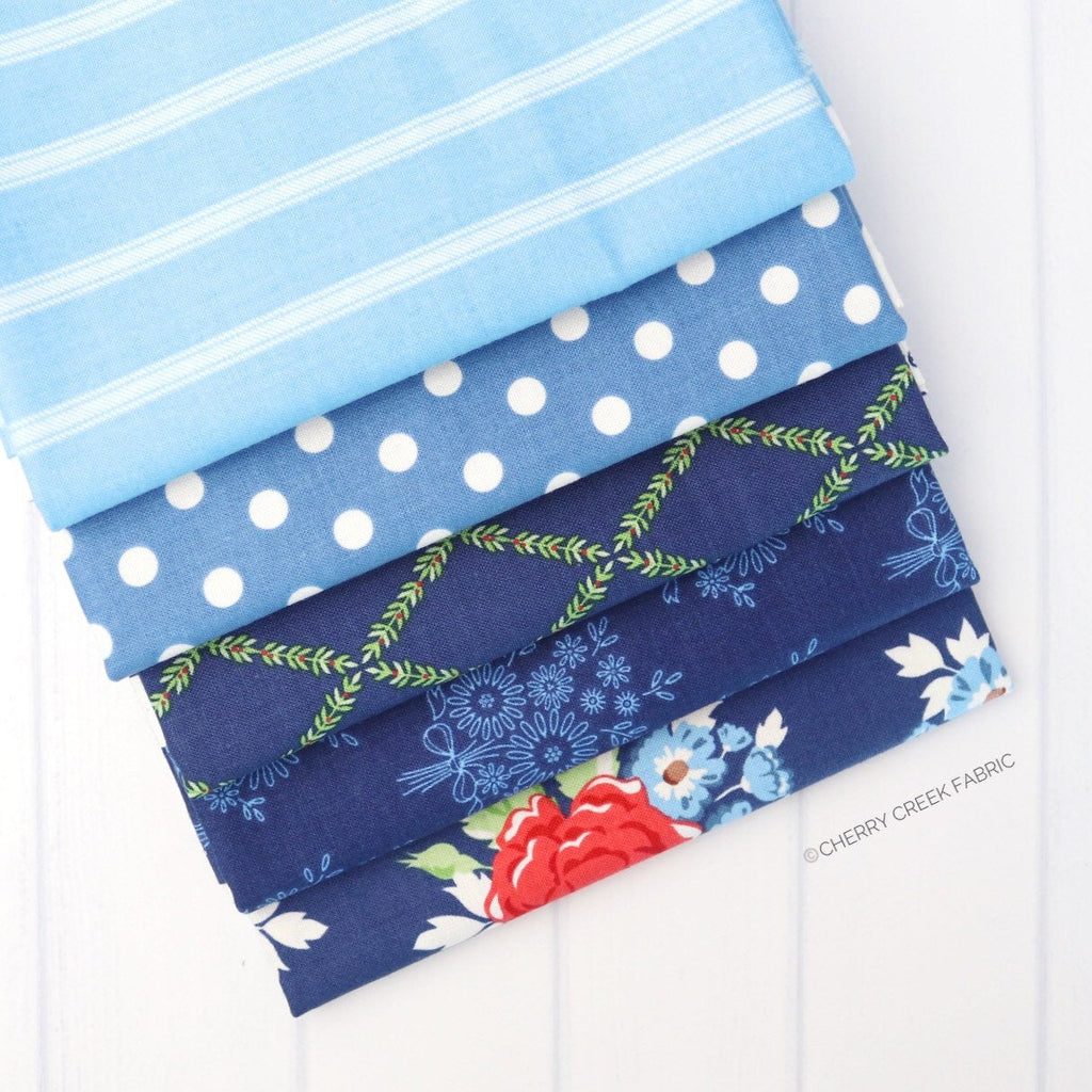 Harry & Alice Blue Half Yard Bundle - 5 pieces